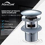 Auralum Ablaufgarnitur mit Überlauf Pop Up Ventil Ablaufventil für Waschbecken Waschtisch Spültisch Edelstahl
