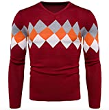 Search : Elonglin Mens Checkered Sweater Knit V-Neck Coton Jumper Contrast Color