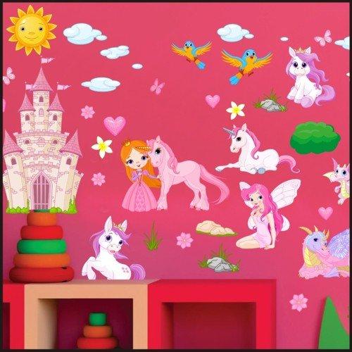 Feen, Prinzessinnen Wand Aufkleber Kinder Zimmer Wand Aufkleber Aufkleber Art Wand 916, multi, 150cm / 42cm