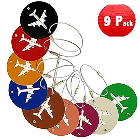 DoGeek 9 couleurs aluminium avion modèle Tag Étiquette Bagage,Balises de bagages de voyage ID Card Tag(9 pcs rond)