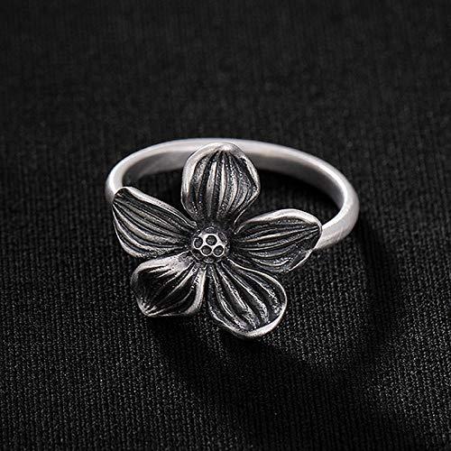 YIYIYYA Women Ring,Einstellbar Mode 925 Sterling Silber Cherry Blossom Matt Thai Silber Form Frauen Schmuck Ring Verstellbar Einfache Vintage Freunde Geburtstag Geschenk -