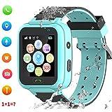 Rastreador de GPS para niños Smart Watch a Prueba de Agua para niños Smartwatches IP67 A Prueba de Agua 1.4'Llamada de Pantalla Chat de Voz Podómetro Reloj Despertador para niñas (Azul)