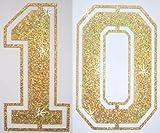 Stoff Pailletten Paar Fußball Zahl Bügelbild gold 10