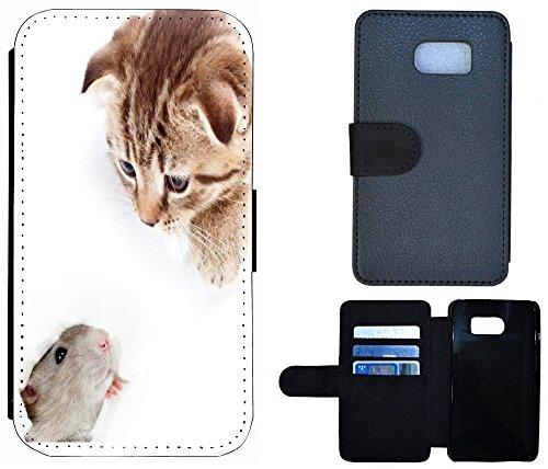 Flip Cover Schutz Hülle Handy Tasche Etui Case für (Apple iPhone 5 / 5s, 1103 London Big Ben England Rot Grau) 1096 Katze und Maus Braun Grau