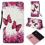 BONROY Huawei Honor Note 10 Hülle - Kunstleder Wallet Case für Huawei Honor Note 10 mit Kartenfächern und Stand - Rosenrot Schmetterling