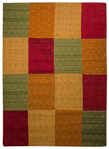 Morgenland Patchwork Teppich WEYS 240 x 170 cm Grün Rot Jacquard Vintage Bunt Kariert Felder Kasten...
