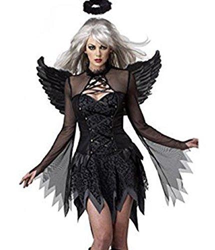 3 Stück Damen Sexy Dunkler Engel/Fee Kostüm Kleid Halo und Flügel Größe 36-38