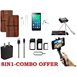 PREGO_(8IN1- COMBO) Brown Leather Rich Boss Flip Cover,Tempered Glass,Charging Data Cable,Handsfree,Fast Charging Adapter,MINI OTG Adapter,Sim Adapter,Selfie Stick With Aux Cable For Samsung Galaxy J7 Next/ Samsung Galaxy J7 Model 2015 Year