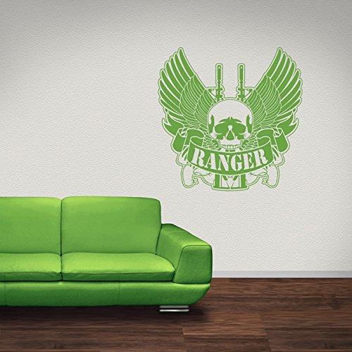 Ranger Schädel Flügel Dekorative Muster Wandsticker Heim Dekor Art Decals verfügbar in 5 Größen und 25 Farben Groß Rose (Schädel Dekorative)