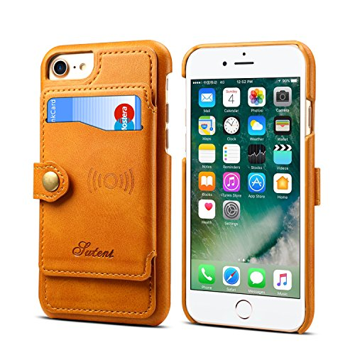 Leder-Schutzhülle für iPhone 6 7 8 Apple,Kartenfächer, Standfunktion, schlank, weich, Khaki