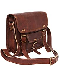 IHandikart Vintage Handmade Genuine Leather Small Briefcase Ipad / Tablet Messenger Sling Bag