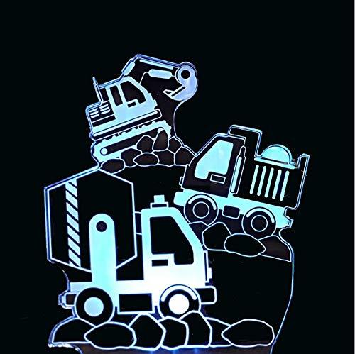 Veilleuse Enfant 3D Creative Night Light Accueil Éclairage Décor 7 Couleur Excavator Transport Véhicule Modélisation Led Construction Outils Camion Bureau Lampe