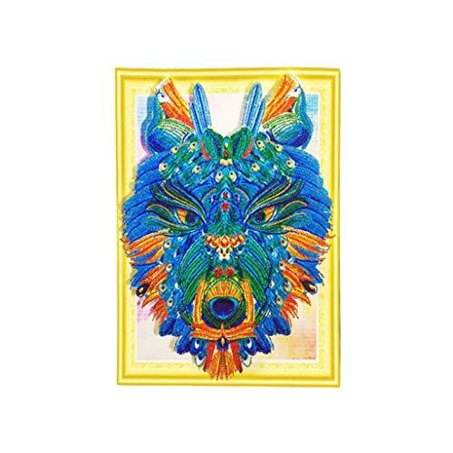 MOTOCO 5D Diamant Malerei Stickerei Tier Kreuzstich Kits Wohnkultur (A: Wolf