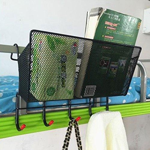 Foxom home office supplies desktop storage rack mensola portaoggetti da appendere basket table book mobile phone cup magazine storage rack letto da appendere con 5ganci, black, 39*9*18.5cm