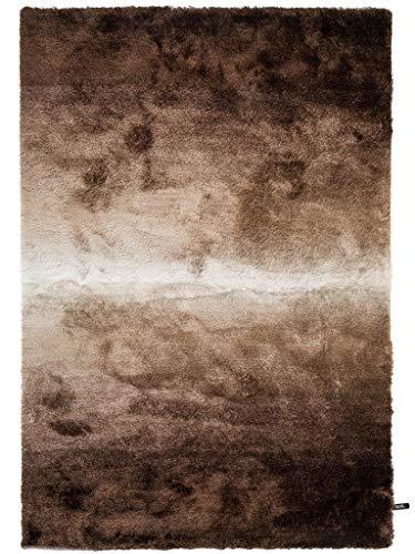 benuta Shaggy Hochflor Teppich Whisper Braun/Taupe 80x150 cm | Langflor Teppich für Schlafzimmer und Wohnzimmer