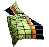 Leonado Vicenti 2 teilige Mikrofaser Bettwäsche 135x200 cm kariert schwarz grün gestreift mit Reißverschluss