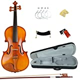 Esound 3/4 ML0013B Massivholz Firnis Violine mit Hartschalenkoffer, Schulterstütze, Bogen, Kolophonium und Zusätzliche Saiten