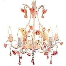GKJ Lampadario di fiori rosa, Lampadario di fiori retrò creativo Lampadario di fiori Negozio di abbigliamento Vetreria Lampadario di cristallo 6 teste E27, Lunghezza catena regolabile 44CM 60 * 60 * 50 CM Variety ( dimensioni : 60*50cm )