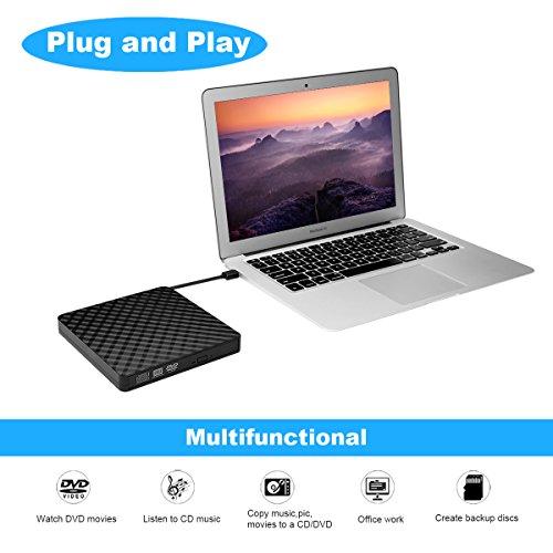 External DVD Drive, BEVA USB 3.0 DVD CD Drive Burner Portable Slim DVD CD RW Writer, Copier, Reader, Player for Laptop, Notebook, Desktop, Mac, Support Windows 7/ 8/ 10/ XP/ Mac OS
