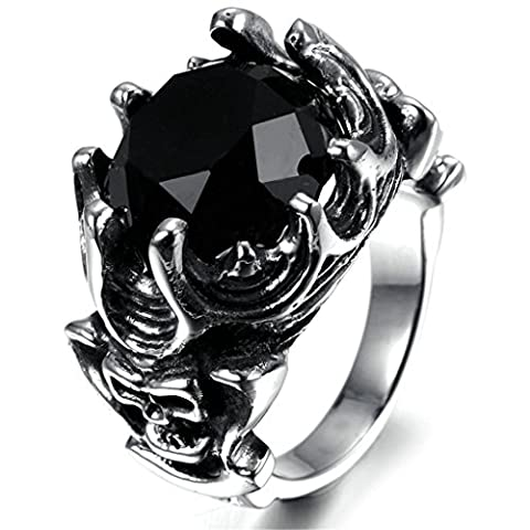 Stainless Steel Ring for Men, Round Ring Gothic Black Band