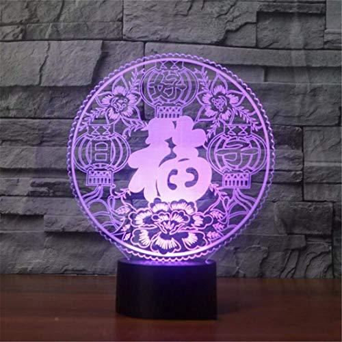Led Nachtlicht Scheinwerfer 3D Visuelle Led Bunte Nachtlicht Chinesische Papier-Cut Fu Tabelle Luminous Usb Schlaf Beleuchtung Segen Neues Jahr Geschenke Dekor Licht (Cut Glas-deckenleuchte)