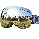 Snowledge Skibrille Damen & Herren Ski Goggles Rahmenlos Wechselobjektive Uvex Skibrille Verspiegelt Anti-Beschlag Helmkompatible OTG für Brillenträger(Silber)