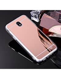 Coque Miroir Silicone TPU Galaxy J5 2017 SM-J530,Mirror Coquille pour Samsung J5 2017,Leeook Noble Elegant Cool Rose Or Semi Rigide Coque Effet Miroir Etui TPU Téléphone Coque Coquille de protection Flex Soft Gel en Caoutchouc Bumper Shockproof Anti Scratch Housse Pailletee Rigid Back Cover pour Samsung Galaxy J5 2017 SM-J530 + 1 x Noir Stylet-Rose Gold