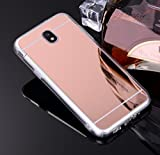 Coque Miroir Silicone TPU Galaxy J3 2017 SM-J330,Mirror Coquille pour Samsung J3 2017,Leeook Noble Elegant Cool Rose Or Semi Rigide Coque Effet Miroir Etui TPU Téléphone Coque Coquille de protection Flex Soft Gel en Caoutchouc Bumper Shockproof Anti Scratch Housse Pailletee Rigid Back Cover pour Samsung Galaxy J3 2017 SM-J330 + 1 x Noir Stylet-Rose Gold