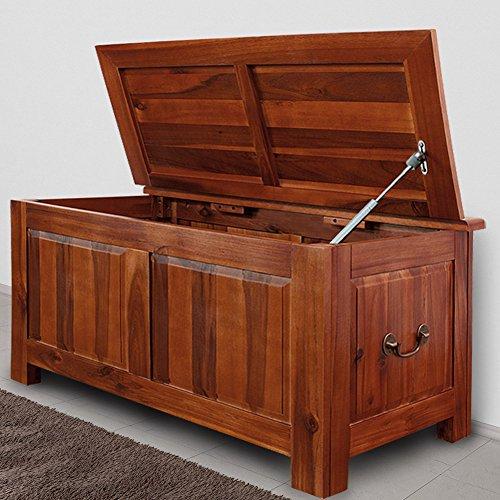 Holztruhe Auflagenbox Holzkiste Wäschetruhe Aufbewahrungsbox Sitzbank Tischtruhe Truhe 85x44x48cm