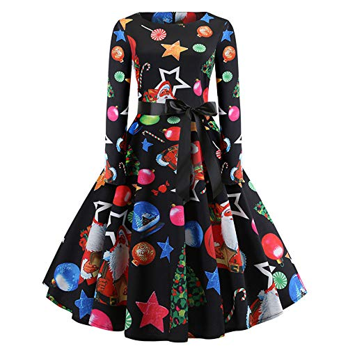 IYHENZ Frauen Vintage Print Langarm Weihnachten Abend Party Swing Dress Damen 50s Retro Schwingen...