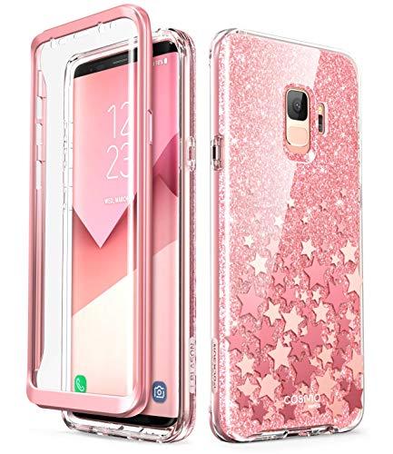 i-Blason Hülle Kompatibel für Samsung Galaxy S9 Glitzer 360 Grad Handyhülle Bumper Case Glänzend Schutzhülle Full Cover [Cosmo] mit integriertem Displayschutz, Pink Pink Handy Cover