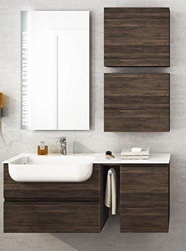 Dafnedesign.com - mobile da bagno misura: l.120 p.36 cm finitura: rovere tabacco top: semincasso in politek con vasca integrata, cassetti, specchio con luci a led come da foto - 100% made in italy