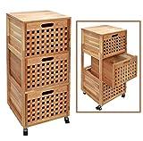 Roll Regal Kommode Rollcontainer Badregal Bad Schrank Regal auf Rollen aus massivem Walnuss Holz