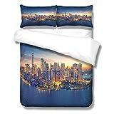 Ropa de cama 1 funda de edredón + 2 fundas de almohada Impresión 3D Hermoso paisaje de una ciudad Adecuado para niños, niñas y adolescentes Sencilla, Doble, King, SuperKing Opcional,NewYork2,2.3x2.2m