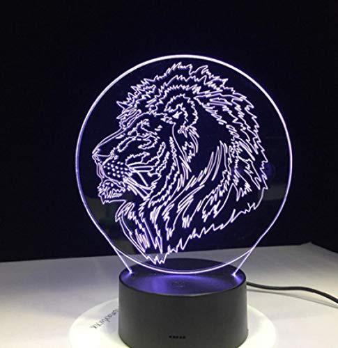 Joplc 3D USB Tier Löwe Tischlampe LED Visuelles Nachtlicht Für Kind Fernbedienung Touch Control Taste Schlaf Beleuchtung 34