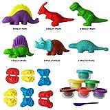 SUPRBIRD Dinosaur Dough, Play Doh, Dinosaur Dino Clay Dough Modelling Kit, Conjunto de Jugue...