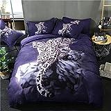 Dotbuy Bettbezug Set, 3 Teilig Bettwäsche 220 x 240cm 100% Polyester Mikrofaser 3D Tiere Gemütlich Printing Bettbezug-Set (220X240cm, Leopard)