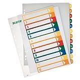 Leitz 12940000 PC-beschriftbares Register, A4, Polypropylen, 1-12, mehrfarbig (2er Pack)