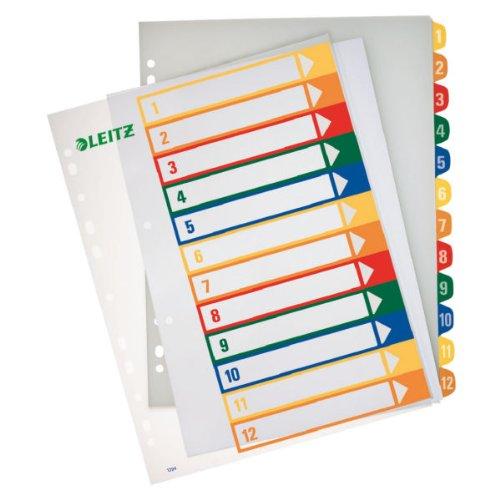 Preisvergleich Produktbild Leitz 12940000 PC-beschriftbares Plastik Register (Polypropylen, A4) mehrfarbig