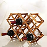 #2: HOKIPO® Foldable Wooden Wine Rack Organizer Display Shelf, 45 X 31 X 12cm, Capacity 10 Bottle (Carbonized Color,no oil paint)
