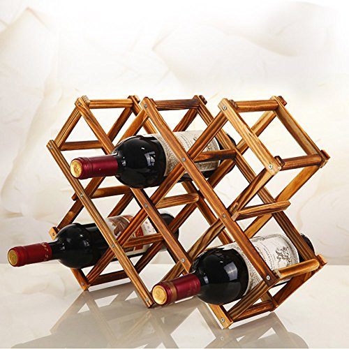 Foldable 10 Bottle Wooden Wine Rack Organizer Display Shelf (Carbonized Color,no oil paint)