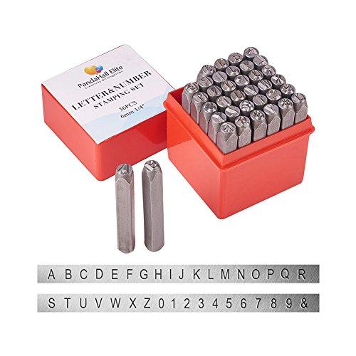 PandaHall Elite 36 Stück Schmuck Making Tool Eisen Buchstaben Alphabet A bis Z und Nummer 0 bis 9 Zeichen Seal Stamps Größe 63x8mm Schwarz