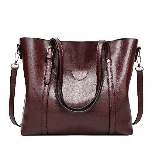 Pb-soar Donna Elegante Borsa A Tracolla Tracolla Borsa In Pelle Borsa Tote Bag 30x26x12cm (lxxx) (rosa) Rosso Scuro