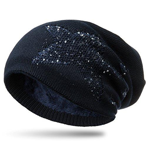 Caspar MU189 gefütterte Feinstrick Beanie Mütze im Stern Destroyed Glitzer Look, Farbe:dunkelblau, Größe:One Size