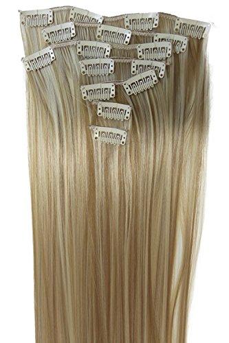 PRETTYSHOP XL 7 Teile Set Clip in Extensions 60cm Haarverlängerung Haarteil glatt blond mix #27H613 CE14