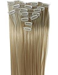 PRETTYSHOP XL 7 pièces SET tête entière Clipser dans les extensions Extension de cheveux postiche résistant à la chaleur lisse mélange blond # 27H613 CE14