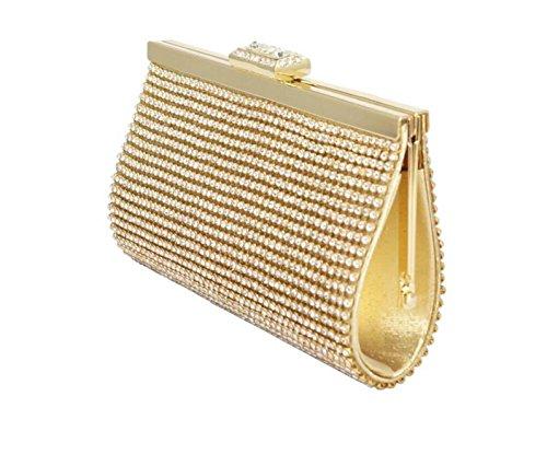 GSHGA Handtaschen Der Frauen Halten Einen Geldbeutel Rhinestone Mini-Abend-Tasche,Gold -