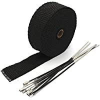 Mintice 5CM X 10M Fiberglas Roll schwarz Racing Auspuff Header Abgaskrümmer Rohr Wrap Band Exhaust Insulating Tape + 6 Krawatten kit