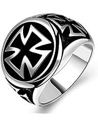 SORELLA'Z Men's Silver Tone Vintage Metal Cross Round Ring