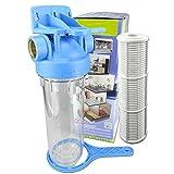 """Wasserfilter 10 Zoll Anschluss 1"""",3/4"""", 1/2"""" IG Messingbuchsen Max. Betriebsdruck: 8 bar für Pumpen-, Hauswasserwerke -Vorfilter, Osmosefilter, Sandfilter. Filtergehäuse mit Filtereinsatz: Faserfilter (YARN) oder Siebfilter (NET) (1""""- NET)"""